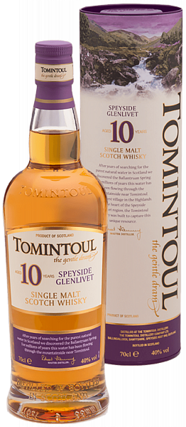 Tomintoul Speyside Glenlivet Single Malt Scotch Whisky 10 YO (gift box),  0.7л