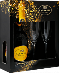 Игристое вино La Gioiosa Prosecco DOC in gift box with two glasses<label>, 0.75л</label>