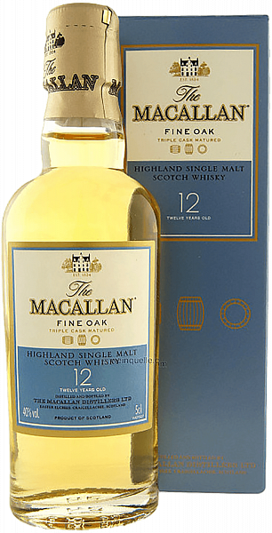 The Macallan Triple Cask Matured 12 y.o. Highland single malt scotch whisky (gift box),  0.05л