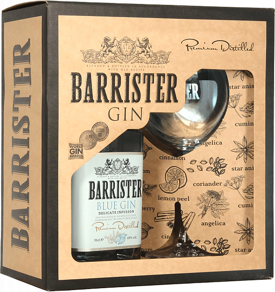 Barrister Blue Gin (gift box with a glass), 0.7л