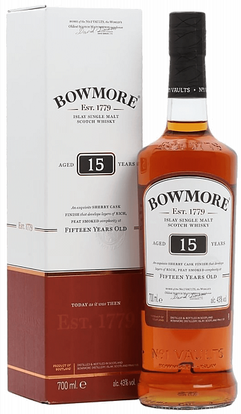 Bowmore 15 y.o. Islay single malt scotch whisky (gift box), 0.7л