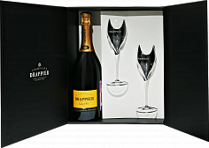 Подарочные наборы Drappier Carte d'Or Brut Champagne AOP in gift box with two glasses<label>, 0.75л</label>