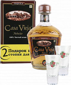 Casa Vieja Anejo (Extra Aged) gift box with 2 glasses<label>, 0.75л</label>