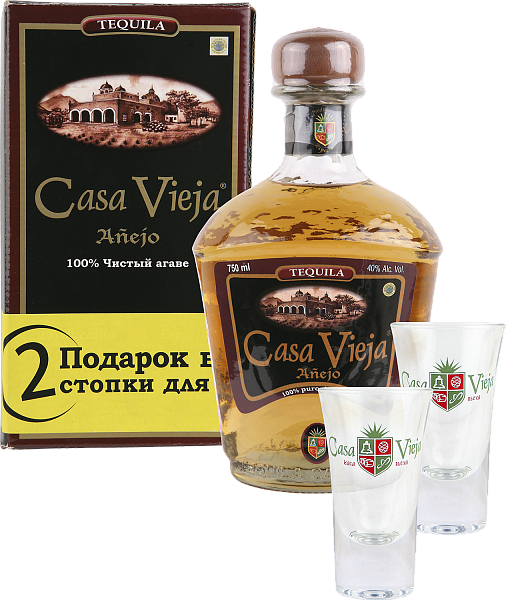 Casa Vieja Anejo (Extra Aged) gift box with 2 glasses, 0.75л